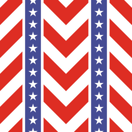 stars and symbols: Patriotic USA seamless pattern. American flag symbols and colors. Background for 4th july USA independence day. Stars and zigzag red and white stripes.
