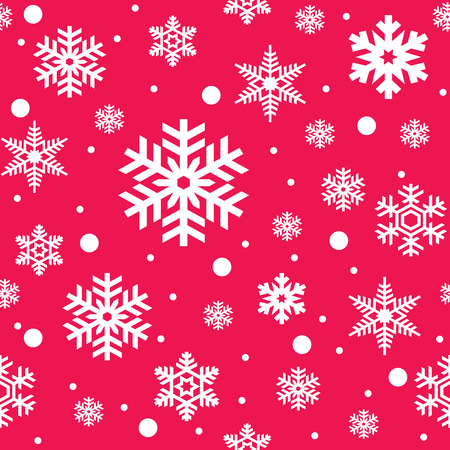Seamless pattern of white snowflakes on pink background. Snowfall stylized wrapping texture. Winter repeating backdrop. Falling snow vector illustration in eps8. Illustration