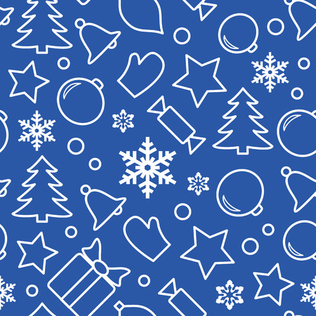 tree texture: Christmas seamless pattern with snowflakes, xmas tree, bells, glove, gift box and other symbols. Flat linear icons isolated on blue background. Wrapping texture vector illustration in eps8.