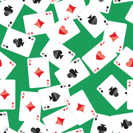 Seamless pattern of aces playing cards. Gambling repeating texture with randomly placed poker cards. EPS8 vector illustration.