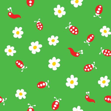 Ladybug, worm and flowers seamless pattern. Cartoon ladybirds on grass green background. Vector illustration.