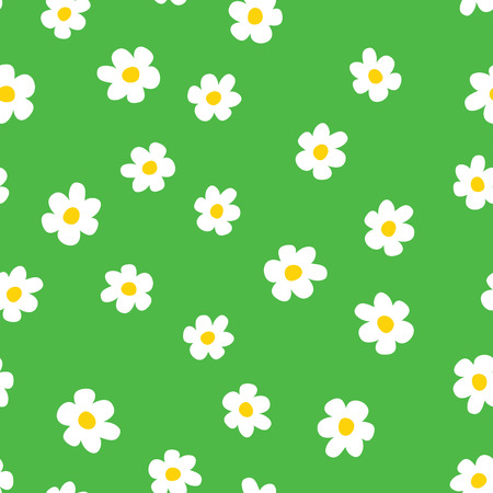 Fun flowers seamless pattern. Cartoon chamomile on grass green background. Vector illustration.
