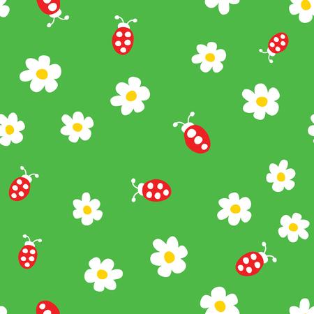 Ladybug and flowers seamless pattern. Cartoon ladybirds on grass green background. Vector illustration.