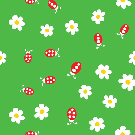 Ladybug and flowers seamless pattern. Cartoon ladybirds on grass green background. Vector illustration.