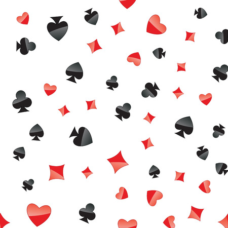 Playing cards suits seamless pattern. Random placed heart, diamond, club, spade on white vector background. Gambling repeating texture. Illustration