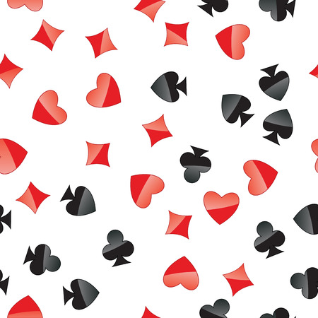 clubs diamonds: Playing cards suits seamless pattern. Random placed heart, diamond, club, spade on white vector background. Gambling repeating texture. Illustration