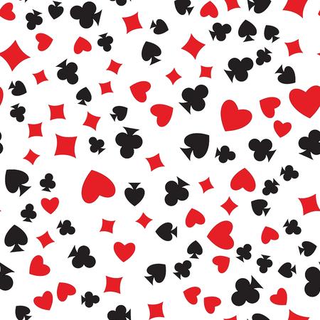 Jugar a las cartas se adapte a patrón transparente. corazón al azar colocado, diamante, club, espada en el fondo vector blanco. Los juegos de azar textura repetitiva.