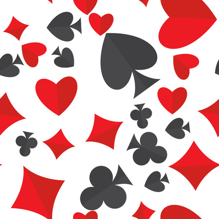 Playing cards suits seamless pattern. Heart, diamond, club and spade symbols random placed over white vector background. Gambling repeating texture. EPS8.