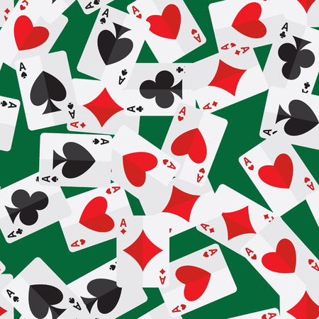 Seamless pattern of aces playing cards randomly placed over green background. Gambling repeating texture in EPS8 vector format.