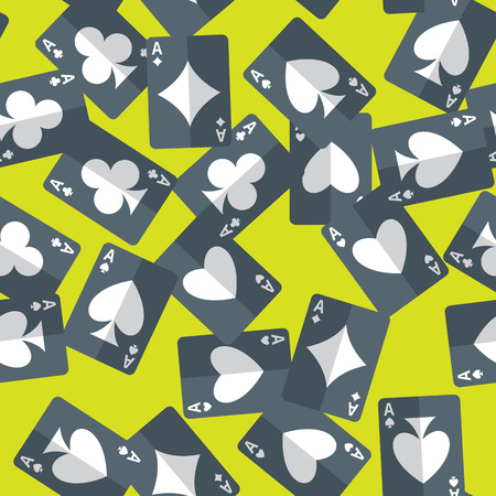 randomly: Seamless pattern of aces playing cards randomly placed over green background. Gambling repeating texture in EPS8 vector format.