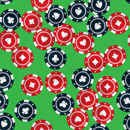 clubs diamonds: Casino gambling chips randomly placed over green background. Vector seamless pattern. Repeating texture in EPS8 format.