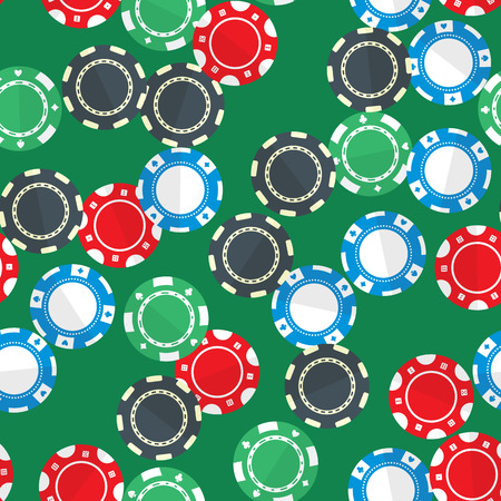 randomly: Casino gambling chips randomly placed over green background. Vector seamless pattern. Repeating texture in EPS8 format.