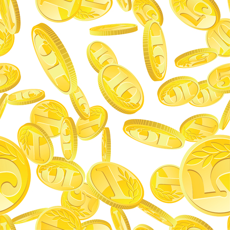Seamless pattern with golden coins randomly placed over white background. Money gold rain repeating texture in EPS8 vector. Illustration