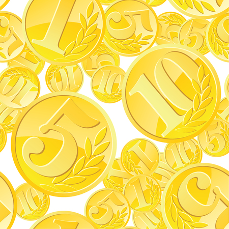 Seamless pattern with golden coins randomly placed over white background. Money gold rain repeating texture in EPS8 vector. Ilustrace