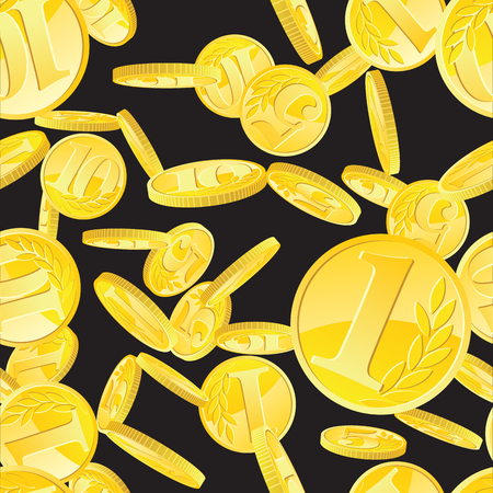 Seamless pattern with golden coins randomly placed over black background. Money gold rain repeating texture in EPS8 vector.