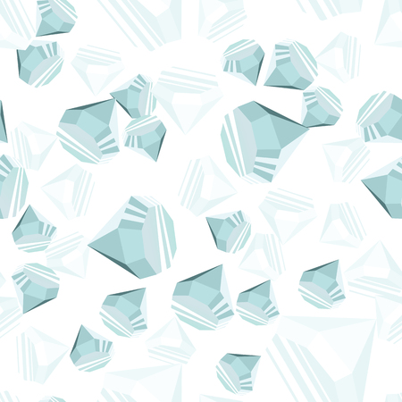 Diamonds randomly placed over white background seamless pattern. Crystal clear brilliant jewels repeating texture. EPS8 vector illustration.