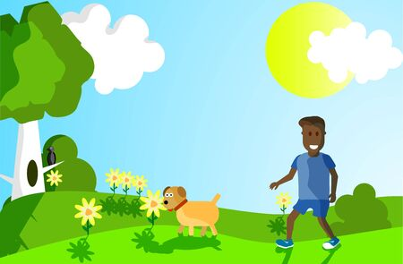 boy with a dog walks through a forest glade on a sunny day in a flat style 向量圖像