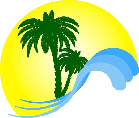 logo of oasis on a hot sunny day desert palm tree lake