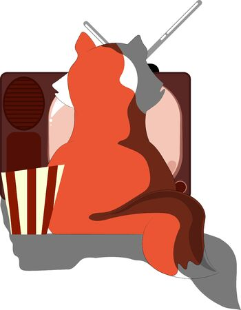 big fat cat watching old tv and eating popcorn, cartoon style Ilustracja