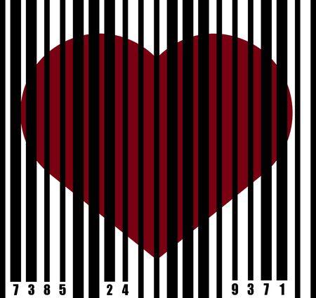 heart behind bars under a barcode in captivity, imprisoned, red heart prisoner