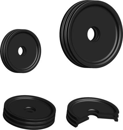 car belt tension rollers, 3D sectional illustration, spare parts on a transparent background Illustration