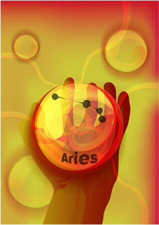 magic crystal ball in hand, blue light, electric discharges and lightning, mystical illustration, zodiac sign Aries