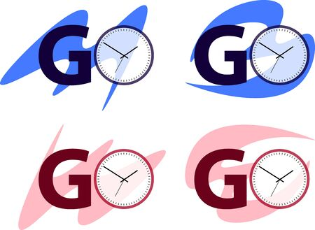 G and O logo vector with round clock