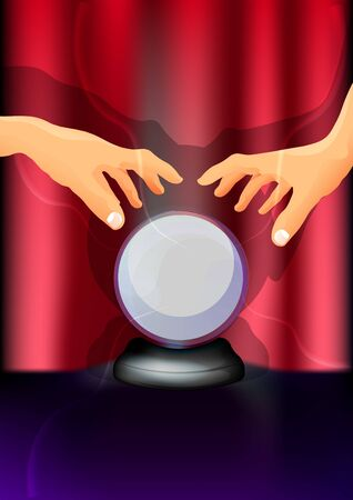 Magic blue crystal ball of glass on a stand with the hands of a wizard, magic illustration in the circus