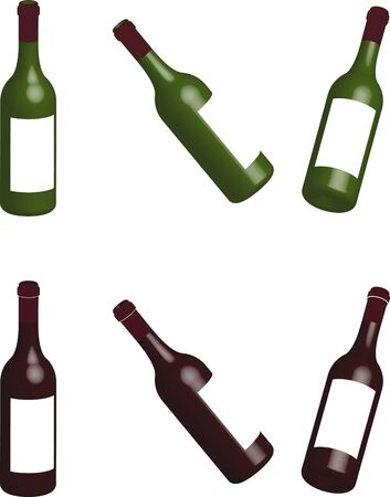 translucent wine bottles made of glass, multi-colored 3D illustration on a transparent background, isolated Illustration