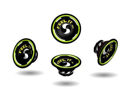 realistic speakers in black and yellow, 3D vector graphics Vektorgrafik