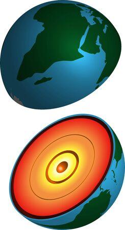 Cutaway Planet Erde mit Gesteinsschichten, realistisches 3D-Vektorbild auf transparentem Hintergrund