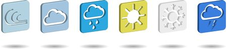 set of square weather icons in realistic design on transparent background, web elements Illustration