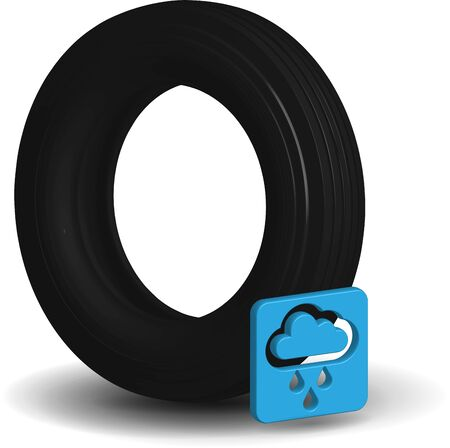 Wet car tire in realistic 3D performance with a rain icon Stock Illustratie