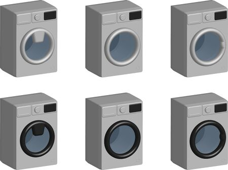 set of silver household washing machines in realistic 3D style isolated on transparent background, various controls Stock Illustratie
