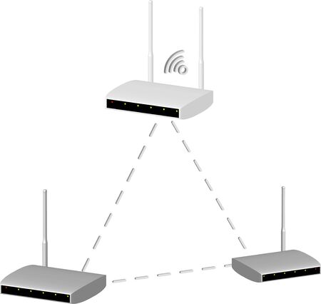 realistic 3D routers networked on a transparent background with a wifi symbol, isolated