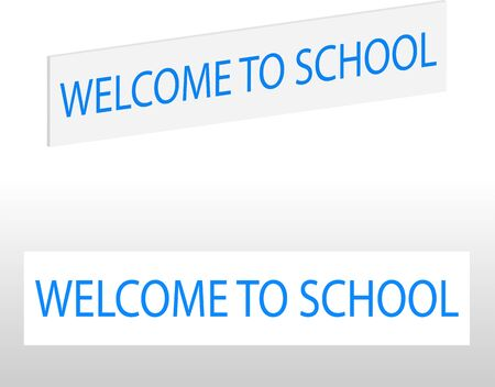 Welcome to school sign isolated on transparent background, infographics. Ilustração