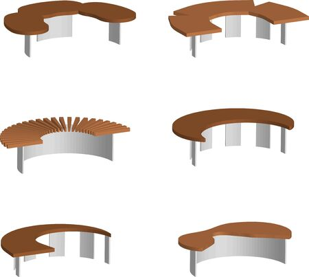 isometric 3d vector, set of original park and garden benches on a transparent background