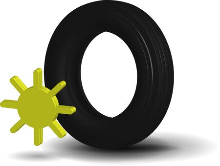 realistic summer car tire on a transparent background with a sun icon