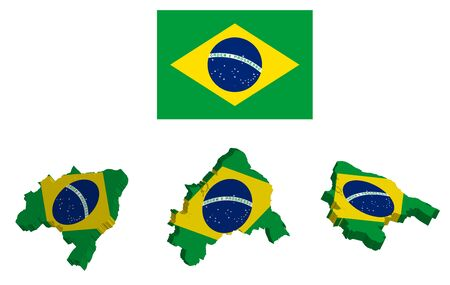 flag of Brazil in a static position and the outlines of the country in the color of the national flag, on a transparent background Ilustração