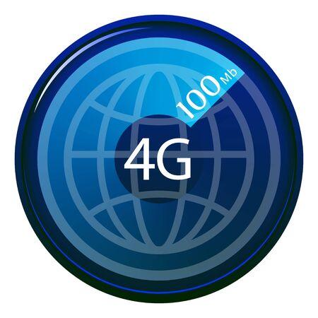 4G internet speed logo, blue on a transparent background, modern technology