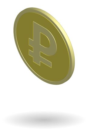 Gold coin with Russian ruble sign. Isometric vector illustration isolated on white background
