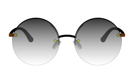 round sunglasses with translucent tinted glasses. Isolated vector on transparent background