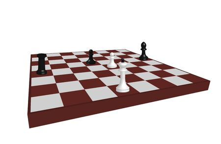 Chess board with figures pawn, king, rook. Difficult situation, lone warrior, defender. Defeat or victory. Isometric illustration