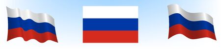 flag of the Russian Federation in a static position and in motion, developing in the wind, on a transparent background 向量圖像