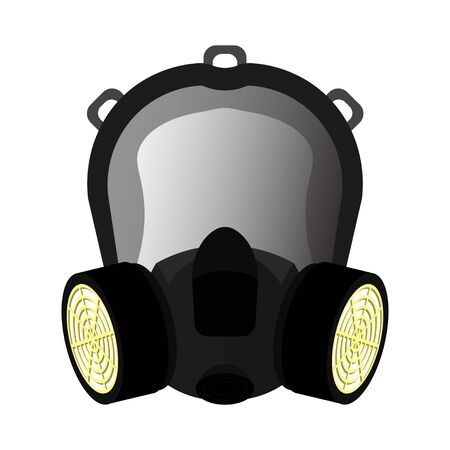Safety mask for breathing protection. Chemical respirator with two filters. Isolated vector on white background