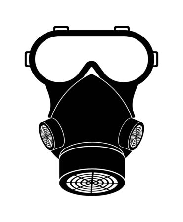 Black safety mask for breathing protection. Chemical respirator with filters. Minimalistic isolated vector on white background Ilustração