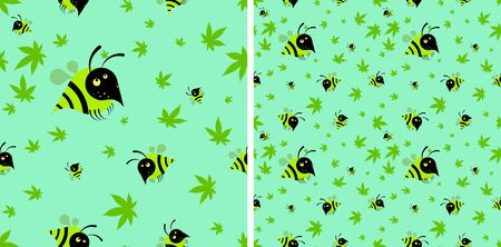 funny seamless pattern wasp with hemp leaves, cannabis. Cartoon on a white background, vector 向量圖像
