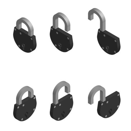 old door locks in open and closed position in isometric on a white background. Isolated vector