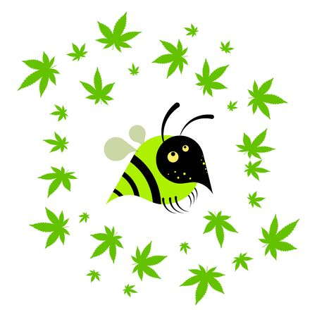 wasp with hemp leaves, cannabis. Cartoon  on a white background. Isolated vector