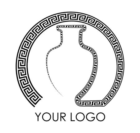 greek vase, jug with ornament elements, patterns. Isolated vector on black and white background 向量圖像